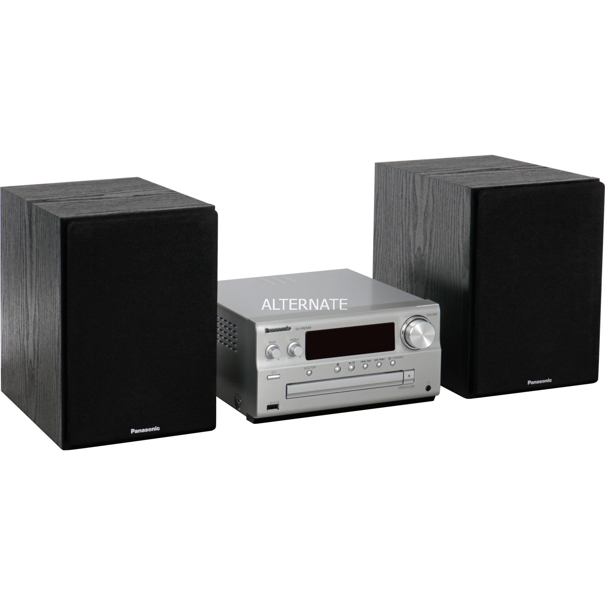 SC-PMX84 Minicadena de música para uso doméstico Negro, Plata 120 W, Equipo compacto