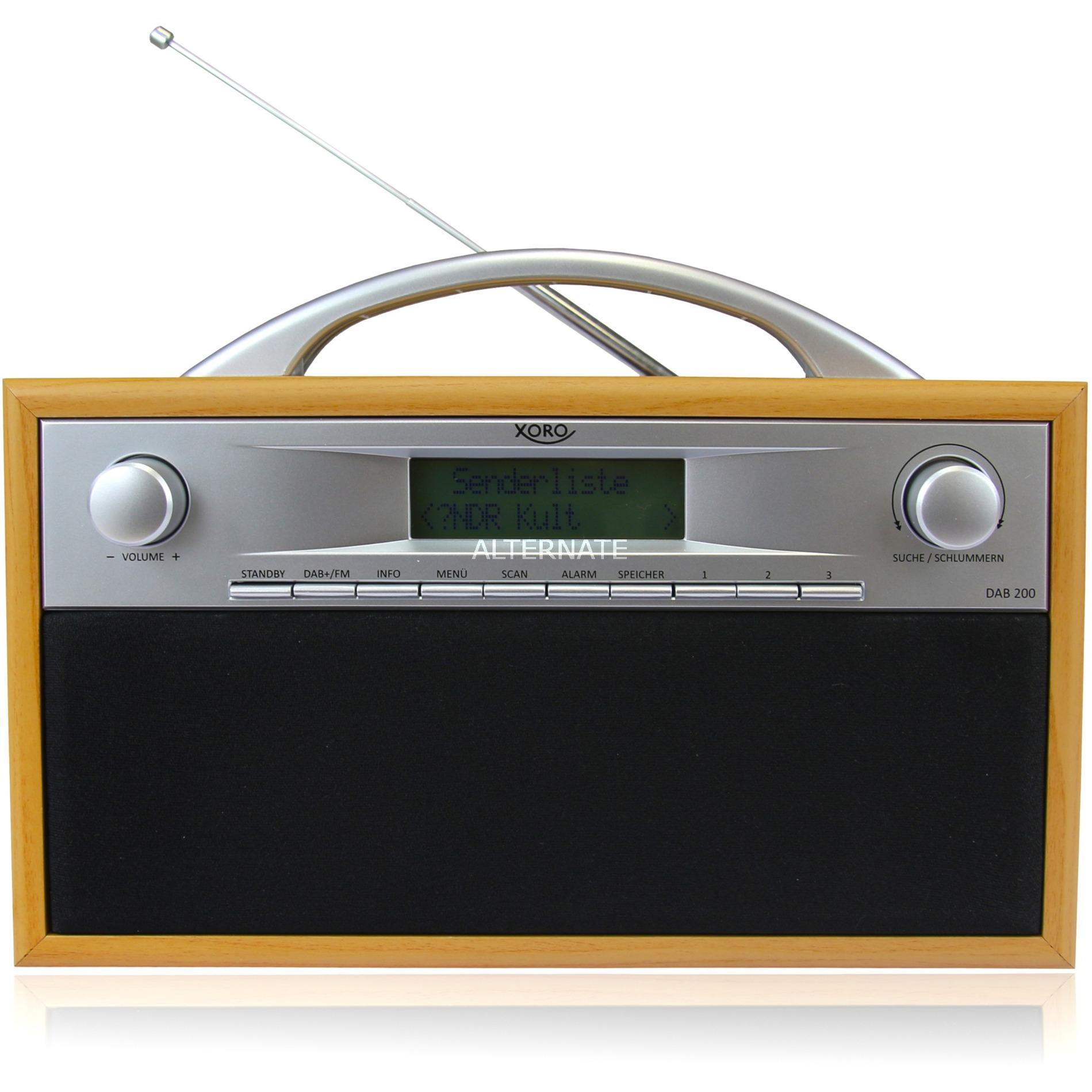 DAB 200 radio Portátil Digital Negro, Gris, Madera