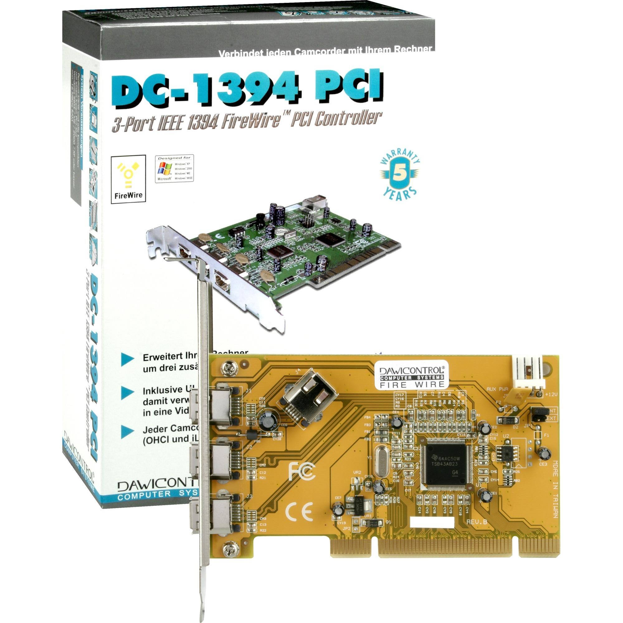 DC-1394 PCI FireWire Controller tarjeta y adaptador de interfaz, Controlador