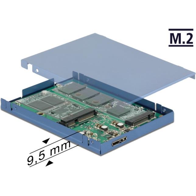 "2.5"" Konverter USB 3.1 Micro-B Buchse > M.2 +mSATA, Caja de unidades"