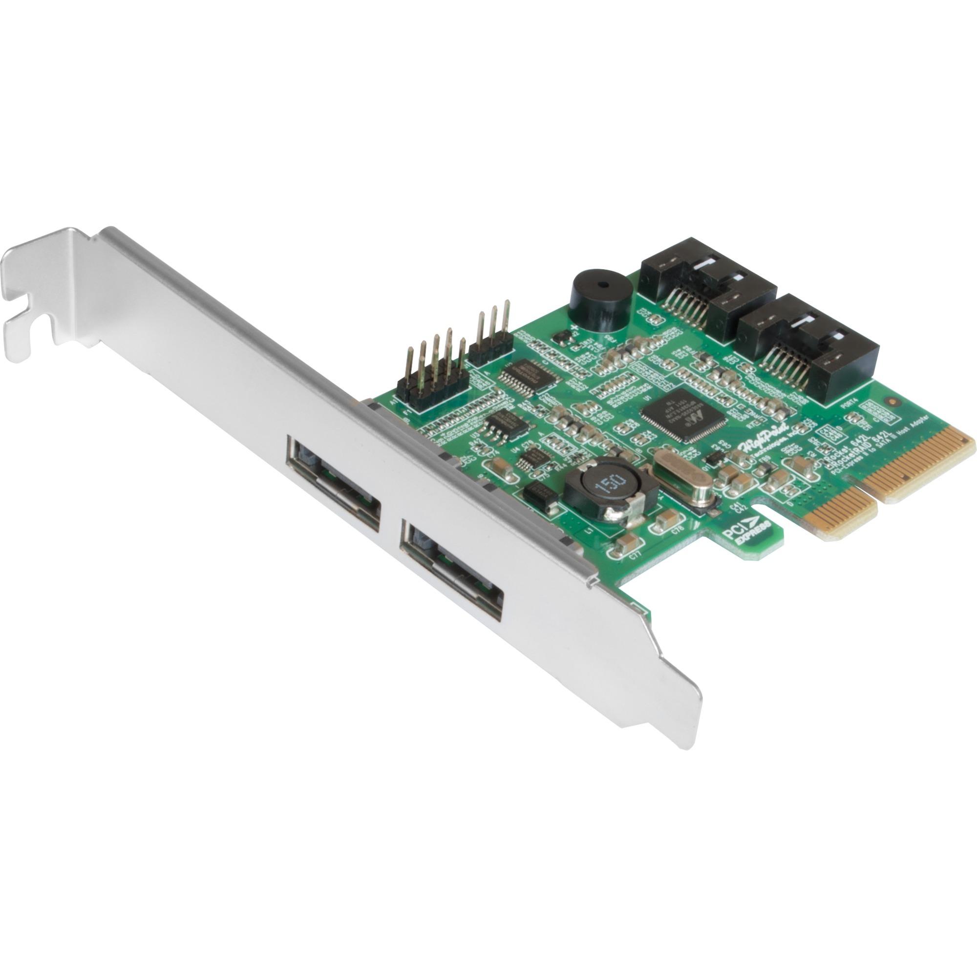 RocketRAID 642L tarjeta y adaptador de interfaz eSATA,SATA Interno, Tarjeta RAID
