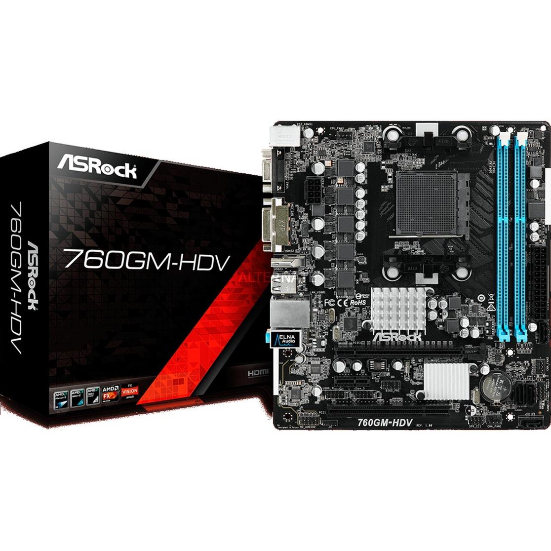 760GM-HDV placa base Socket AM3+ Micro ATX AMD 760G