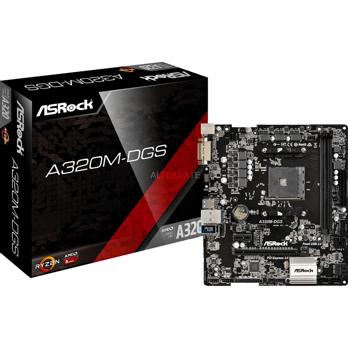 A320M-DGS AMD A320 Zócalo AM4 Micro ATX, Placa base