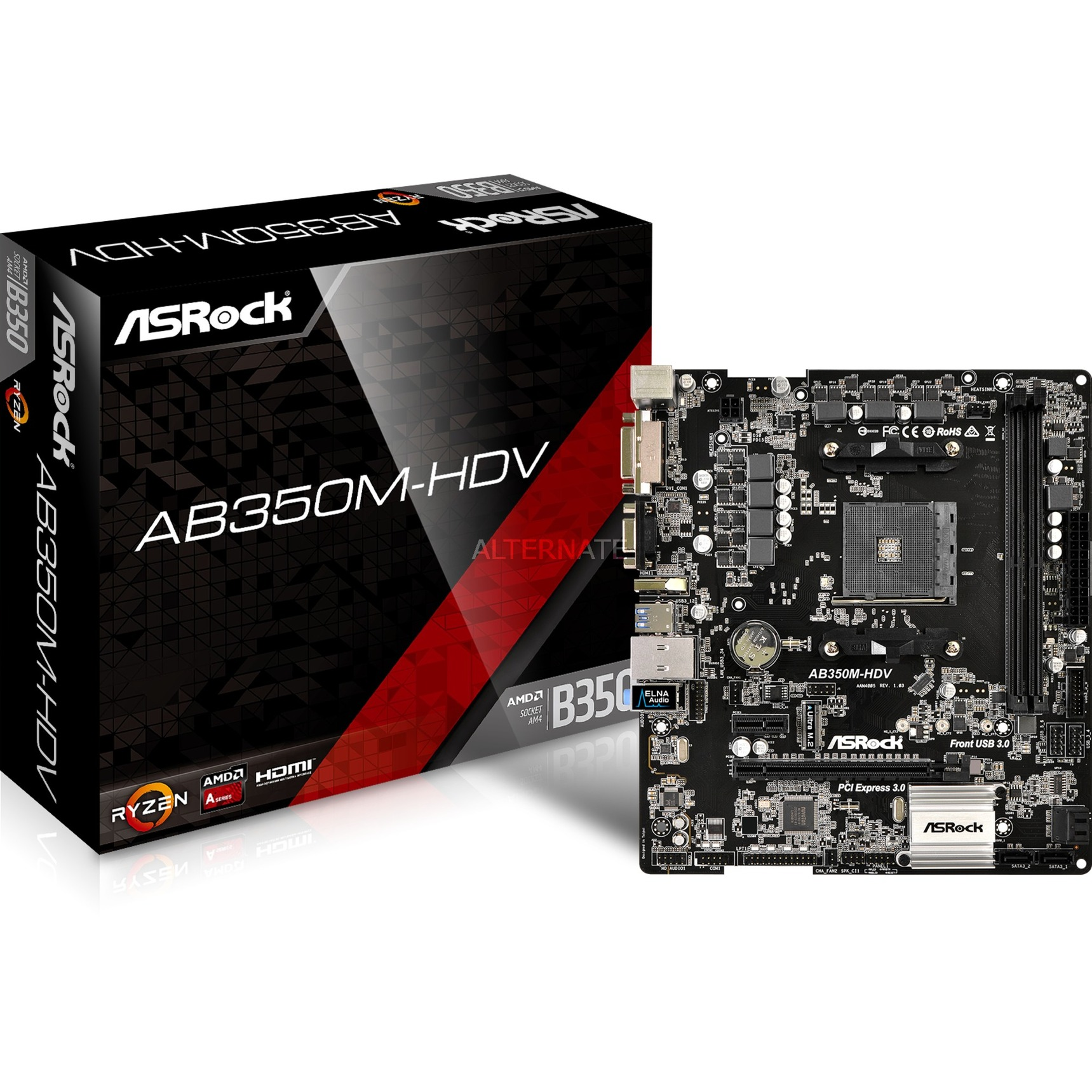AB350M-HDV AMD B350 Zócalo AM4 Micro ATX, Placa base