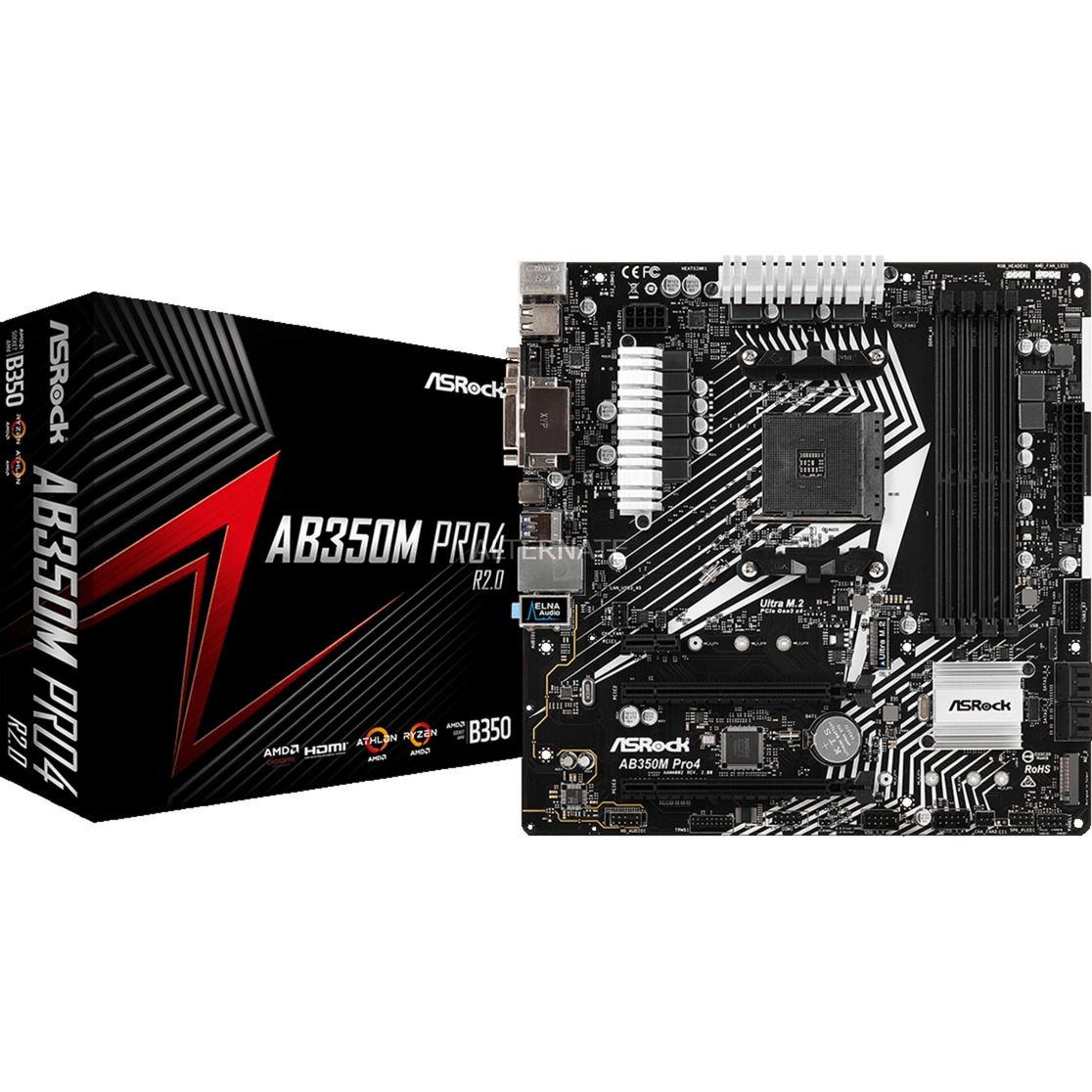 AB350M Pro4 R2.0 placa base Zócalo AM4 Micro ATX AMD B350
