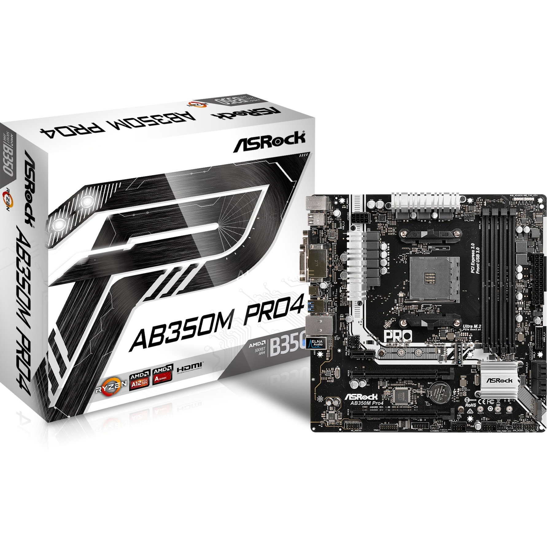 AB350M Pro4 Zócalo AM4 AMD B350 micro ATX, Placa base