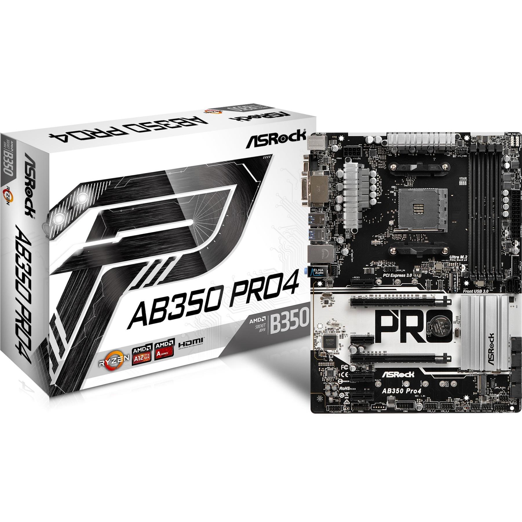 AB350 Pro4 AMD B350 Zócalo AM4 ATX, Placa base