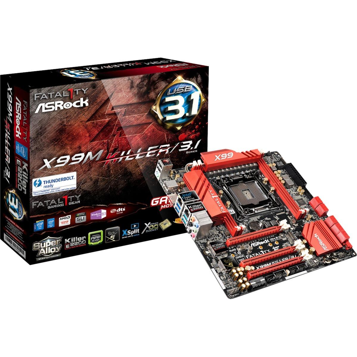 Fatal1ty X99M Killer/3.1 LGA 2011-v3 Intel X99 micro ATX, Placa base