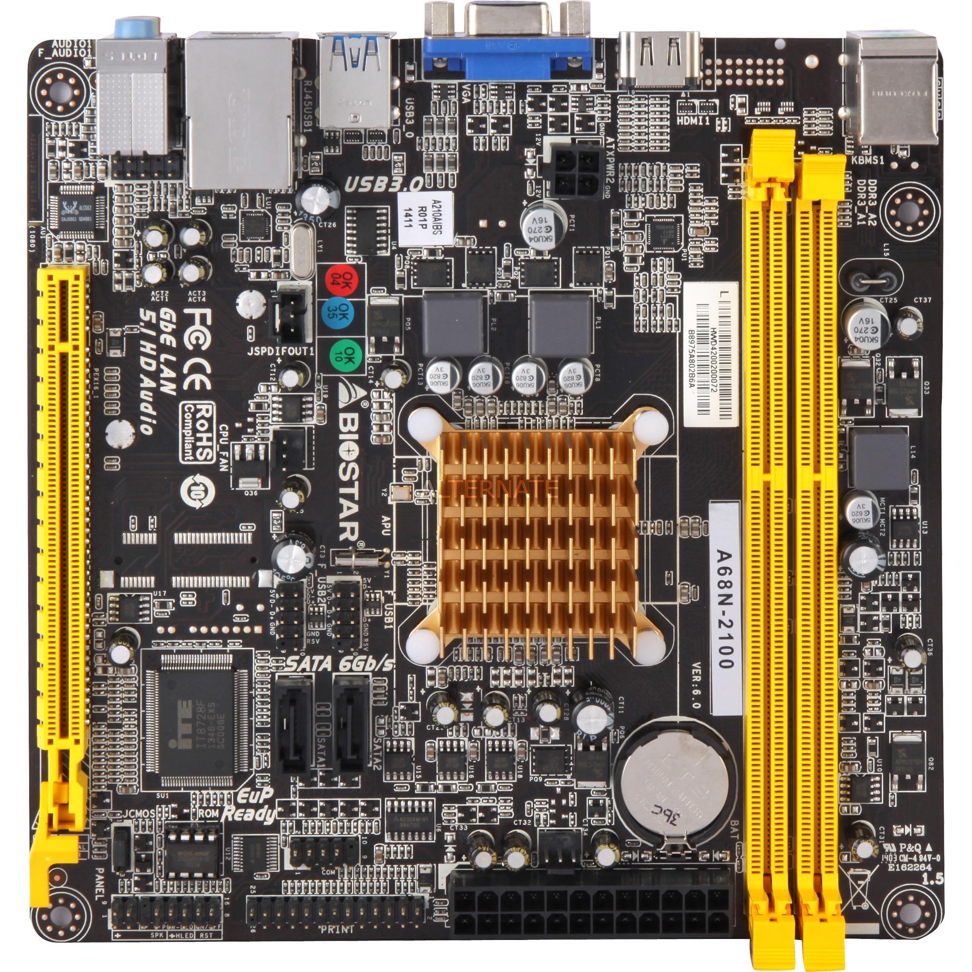 A68N-2100 inkl. AMD E1-2100, Placa base