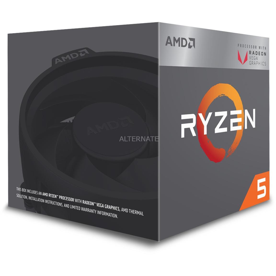 Ryzen 5 2400G 3.6GHz 2MB L2 Caja procesador