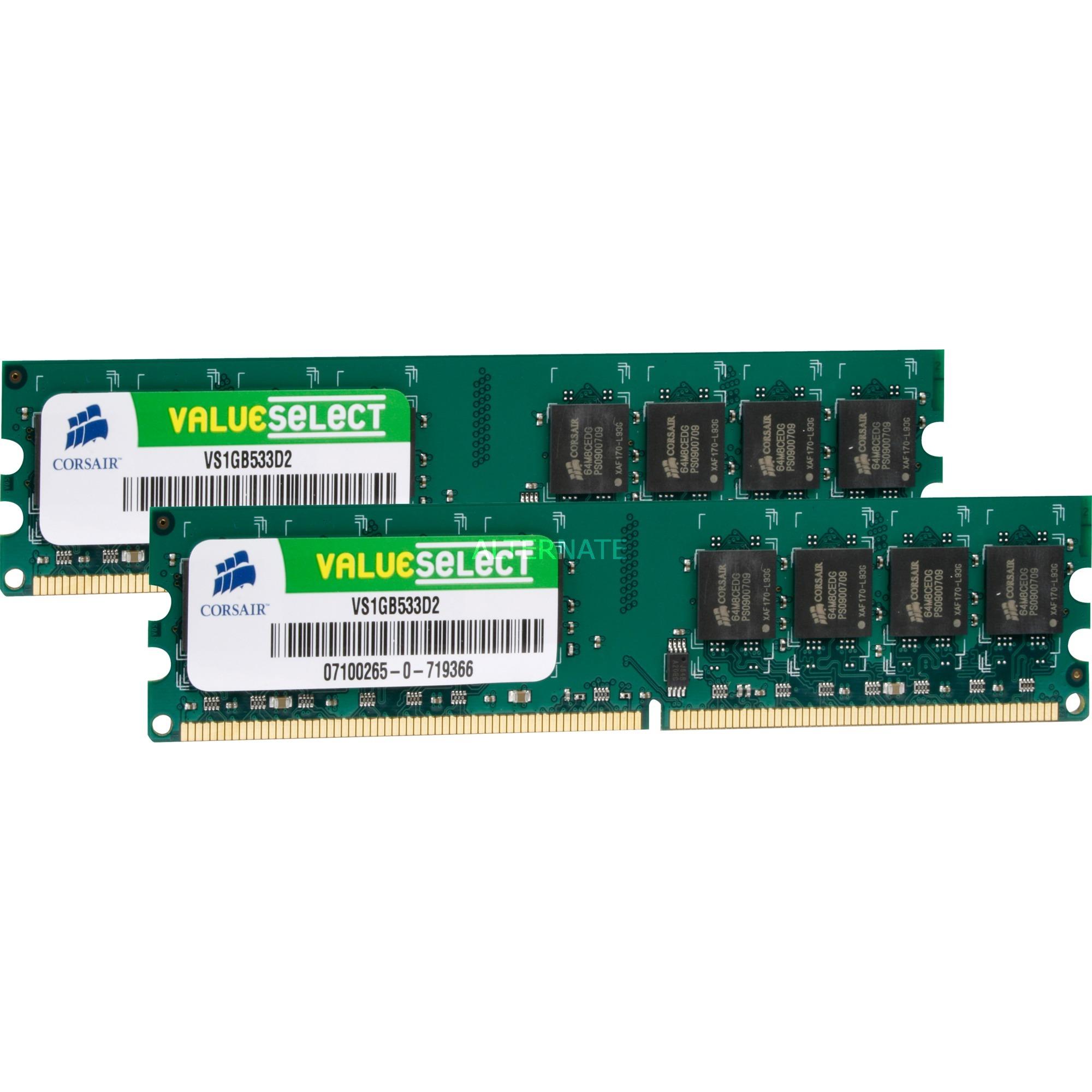 2GB DDR2 SDRAM DIMMs módulo de memoria 533 MHz, Memoria RAM