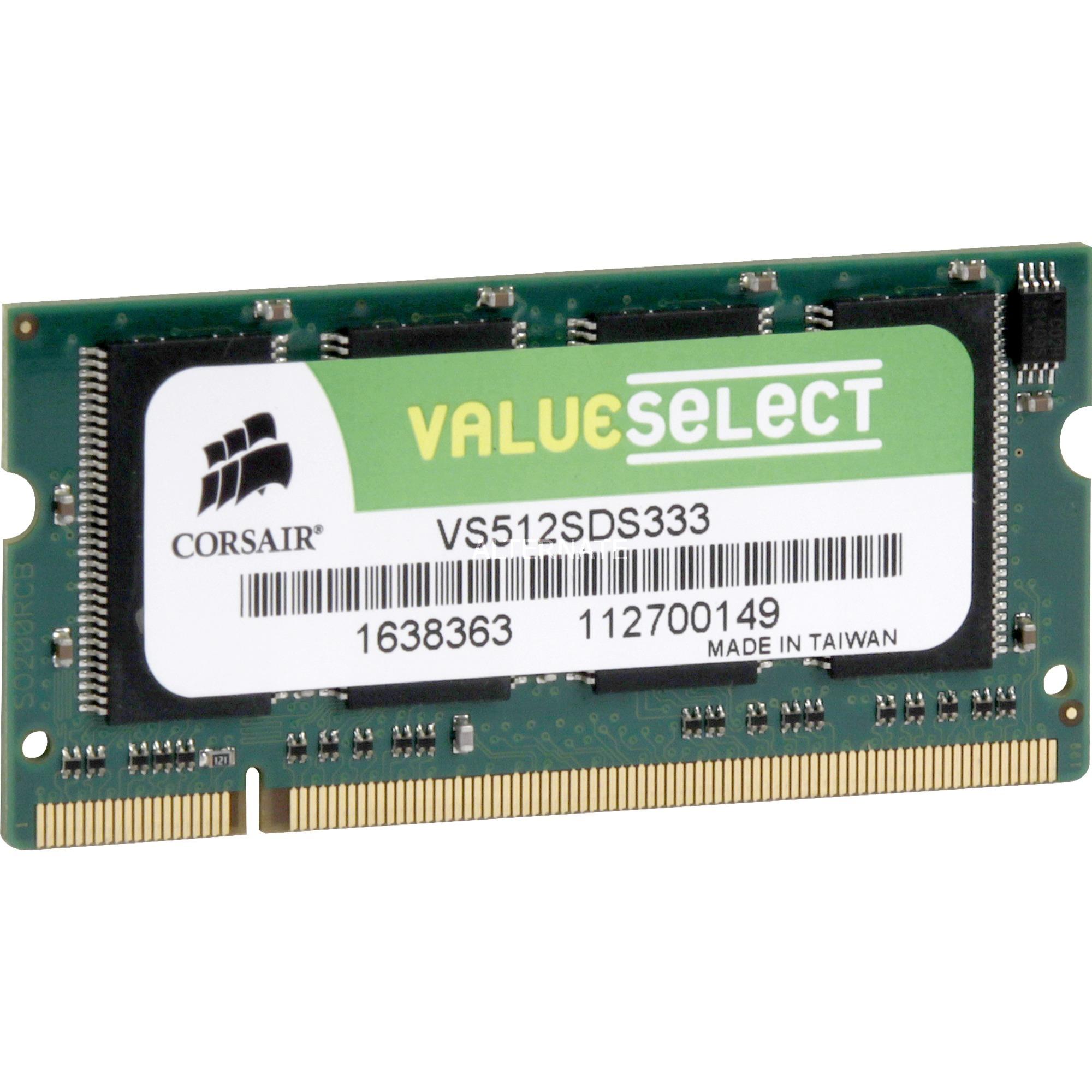 512MB DDR SDRAM SO-DIMMs módulo de memoria 0,5 GB 333 MHz, Memoria RAM