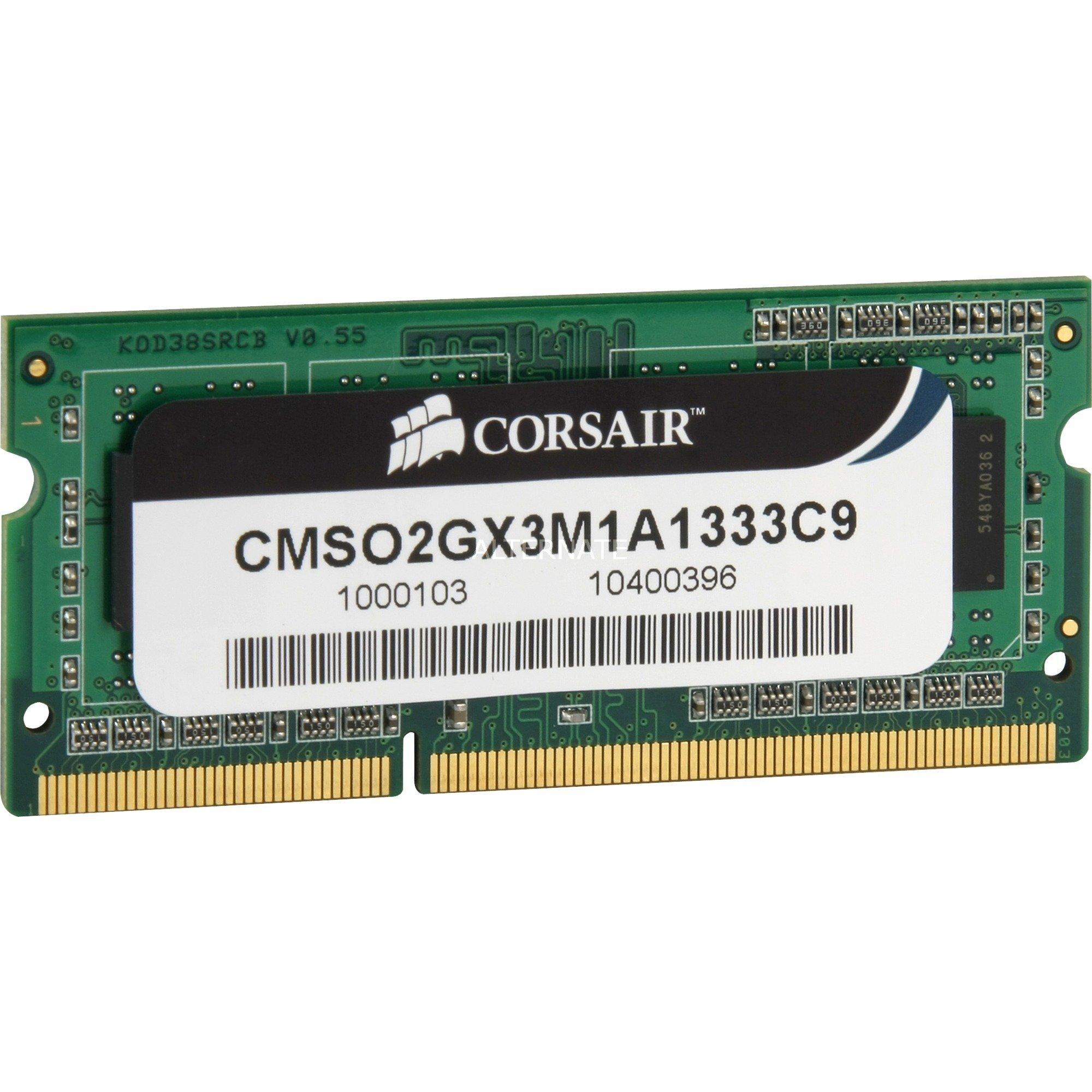 CMSO2GX3M1A1333C9 módulo de memoria 2 GB DDR3 1333 MHz, Memoria RAM