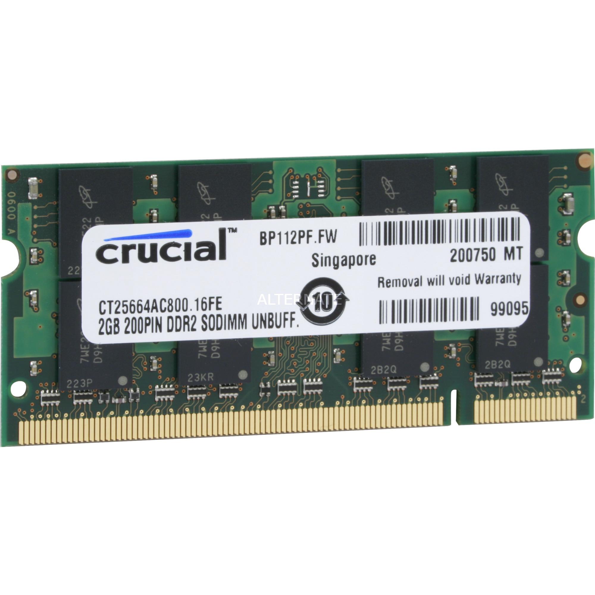 2GB DDR2 SODIMM módulo de memoria 800 MHz, Memoria RAM