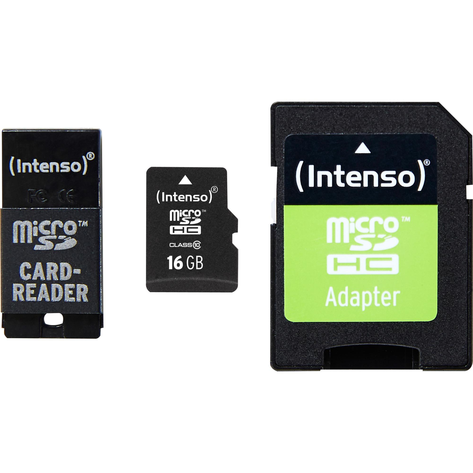 16GB MicroSD, SD + USB Adapter 16GB MicroSD Clase 10 memoria flash, Tarjeta de memoria