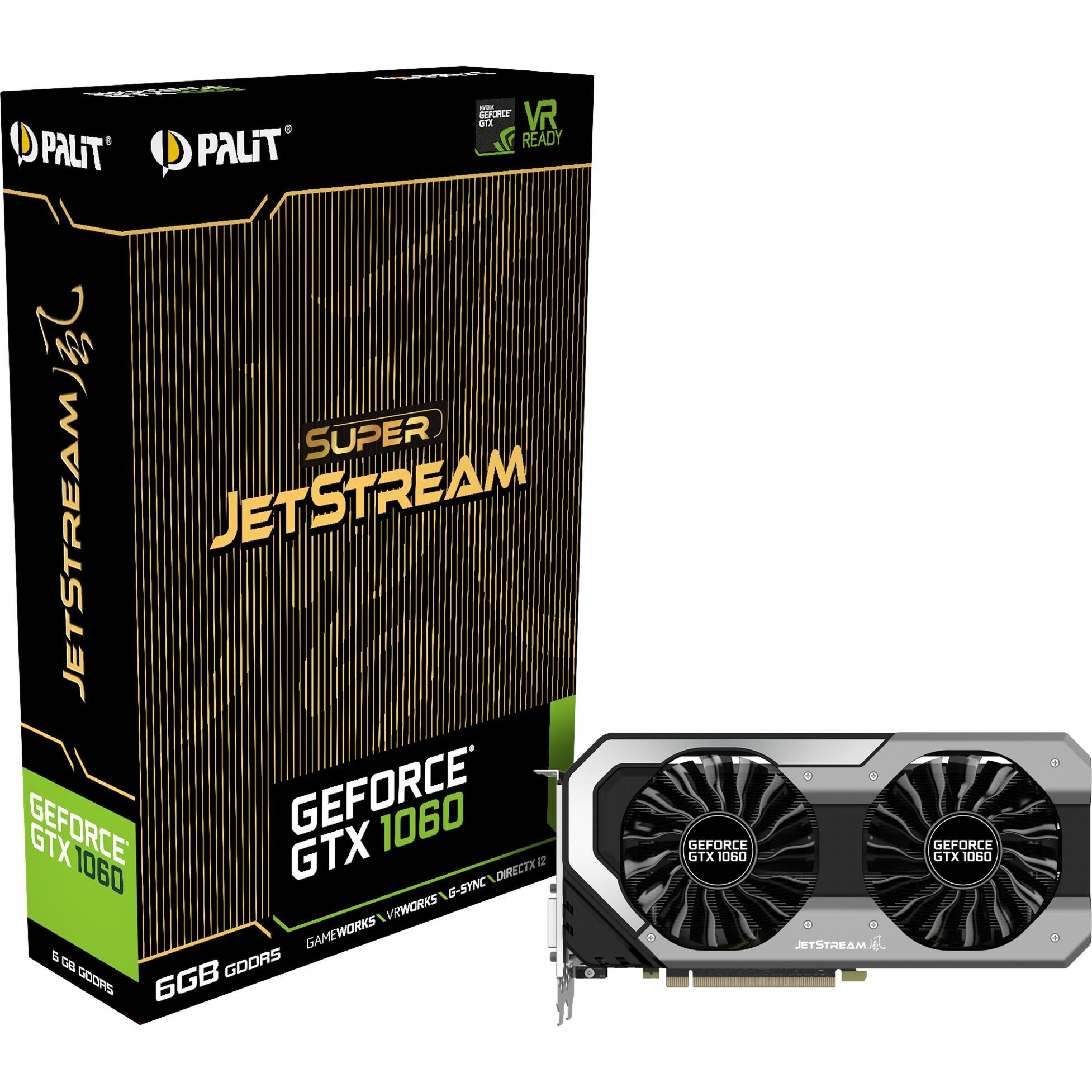 GeForce GTX 1060 Super JetStream GeForce GTX 1060 6GB GDDR5, Tarjeta gráfica