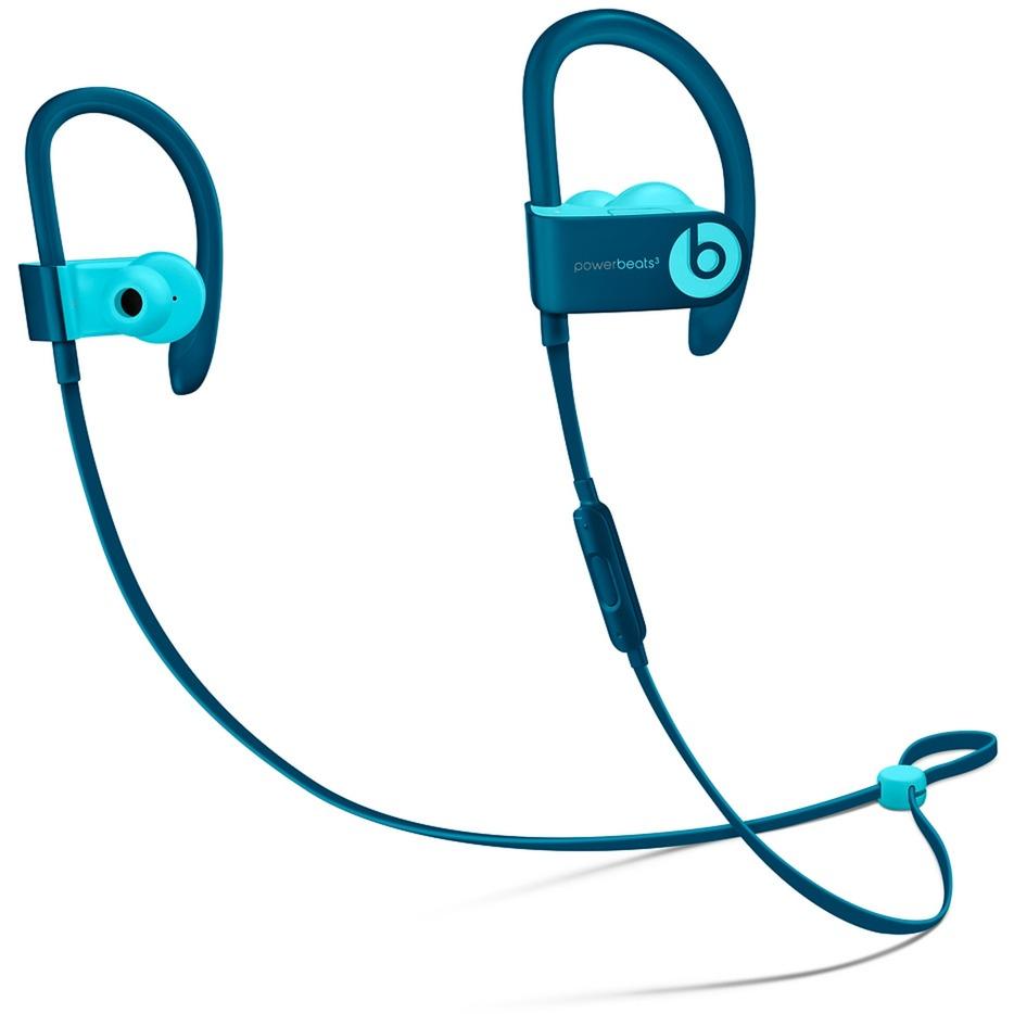 Powerbeats3 auriculares para móvil Binaural gancho de oreja, Dentro de oído Azul Inalámbrico