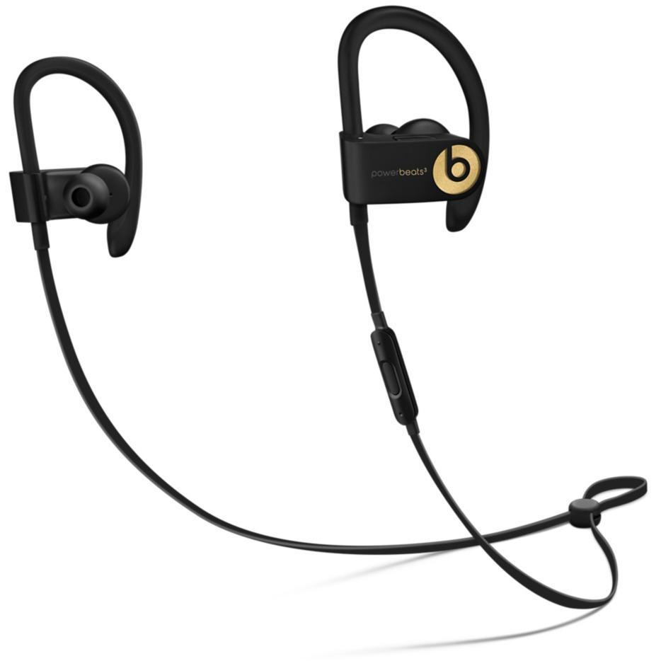 Powerbeats3 gancho de oreja, Dentro de oído Binaurale Inalámbrico Negro, Oro auriculares para móvil, Auriculares con micrófono