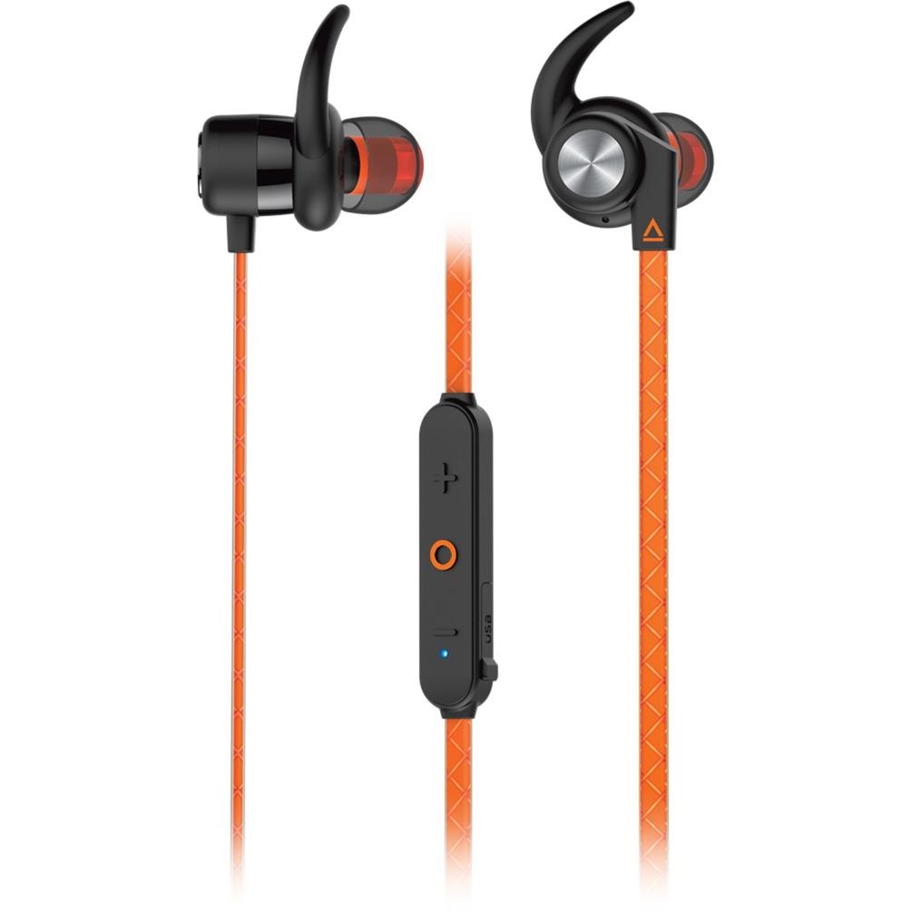 Creative Outlier Sports Dentro de oído Binaural Inalámbrico Naranja auriculares para móvil, Auriculares con micrófono