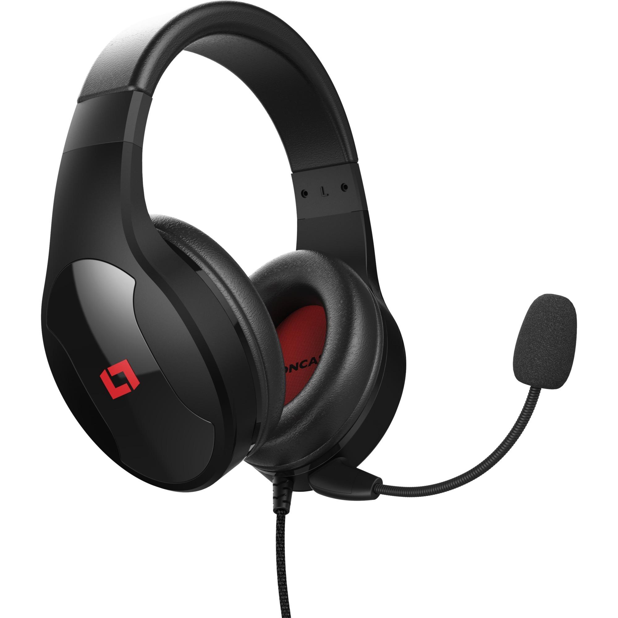LX20 Binaural Diadema Negro, Rojo auricular con micrófono, Auriculares con micrófono