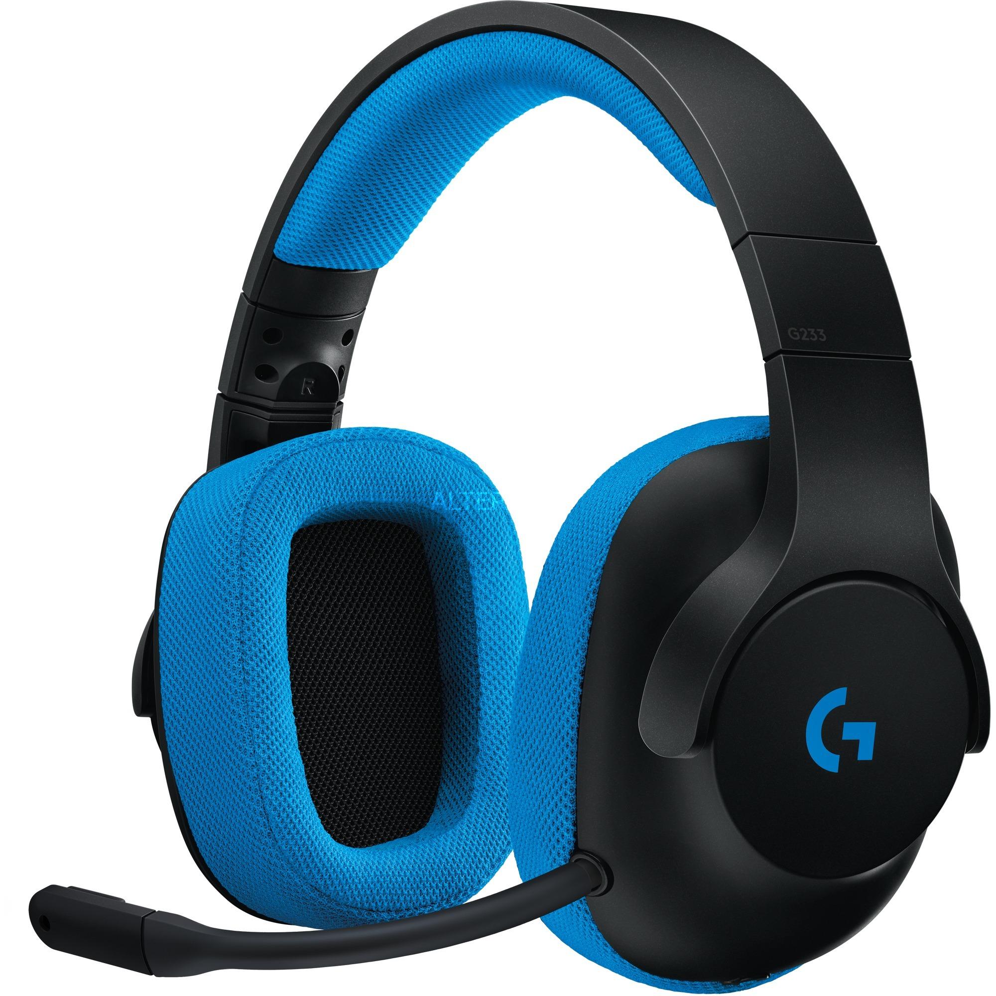 G233 auricular con micrófono Binaural Diadema Negro, Azul, Auriculares con micrófono