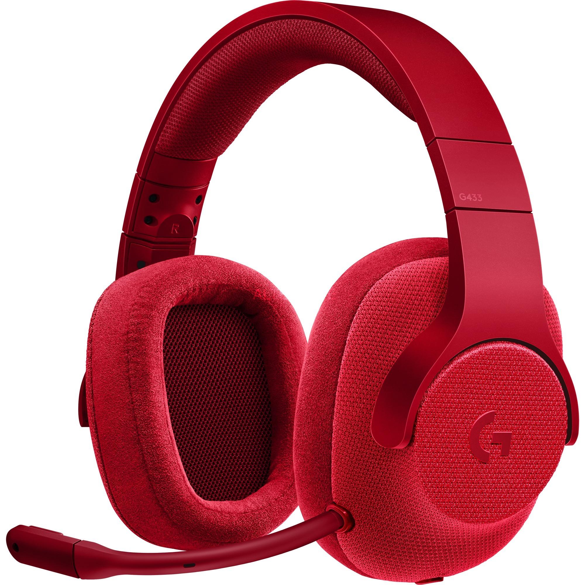 G433 Binaurale Diadema Rojo auricular con micrófono, Auriculares con micrófono