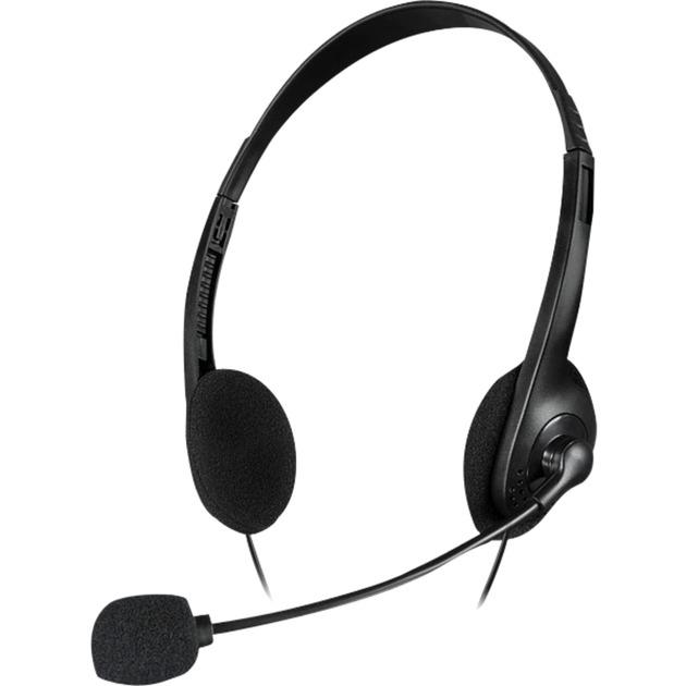 ACCORDO auricular con micrófono Binaural Diadema Negro, Auriculares con micrófono