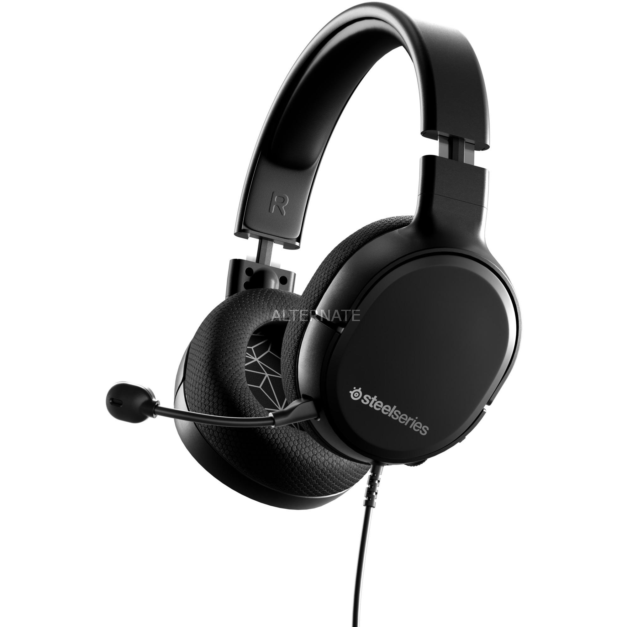 ARCTIS 1 auricular con micrófono Diadema Binaural Negro, Auriculares con micrófono