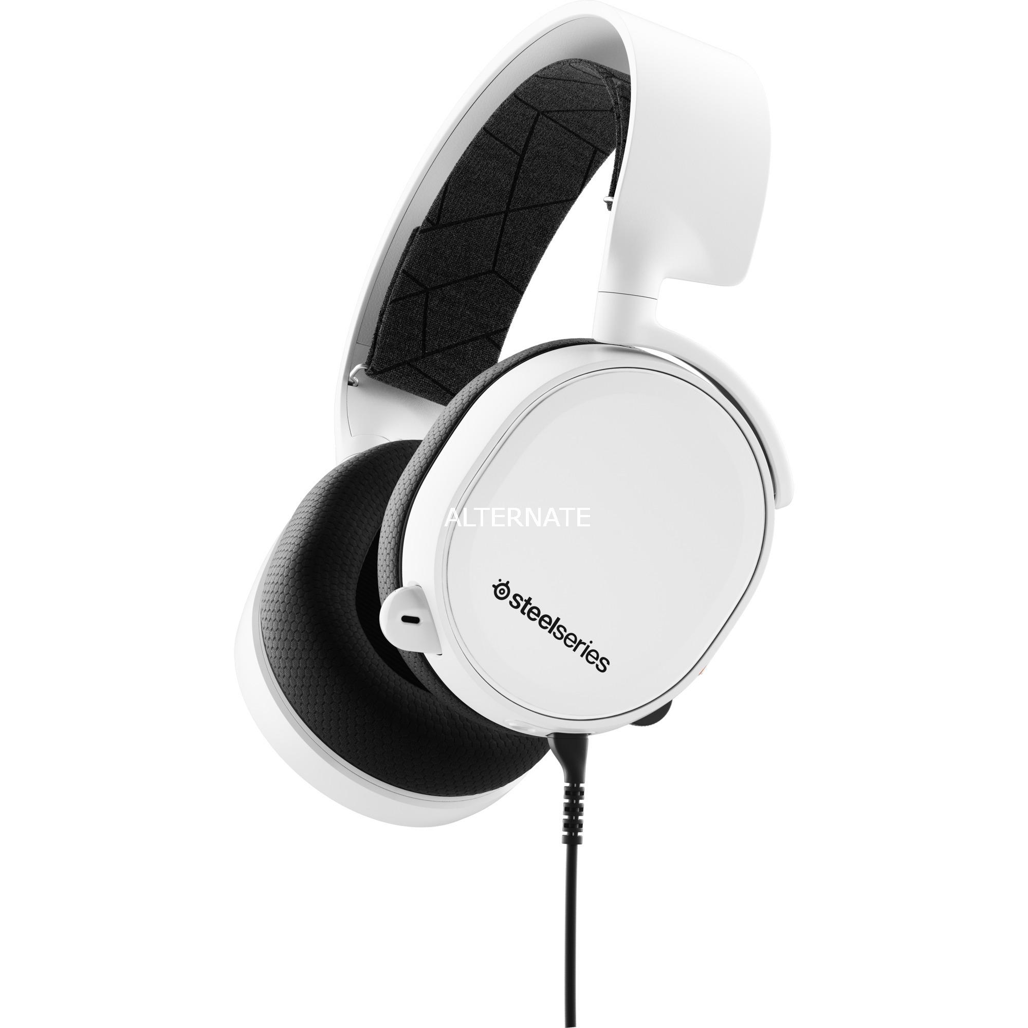 Arctis 3 Binaural Diadema Negro, Blanco auricular con micrófono, Auriculares con micrófono