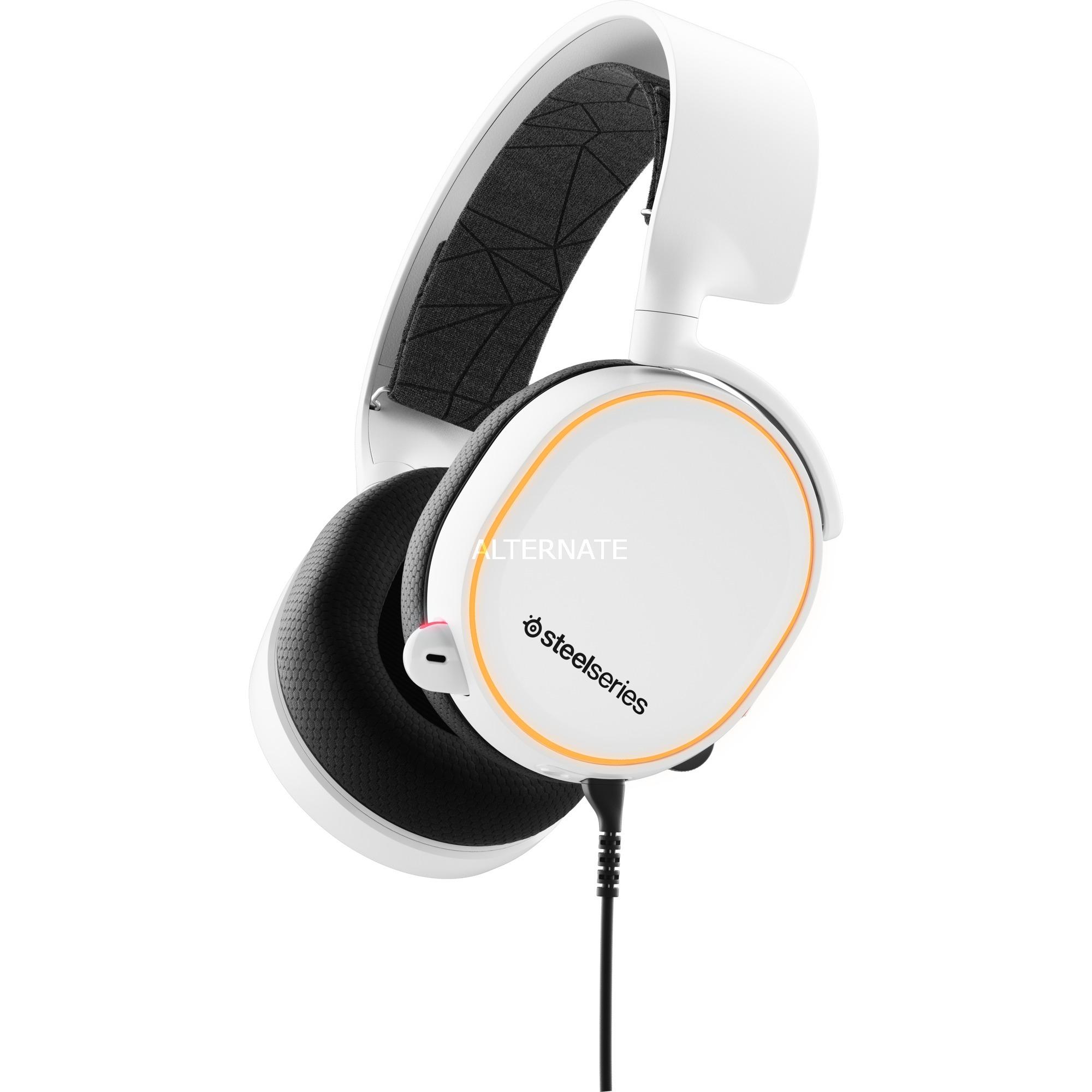 Arctis 5 Binaural Diadema Negro, Blanco auricular con micrófono, Auriculares con micrófono