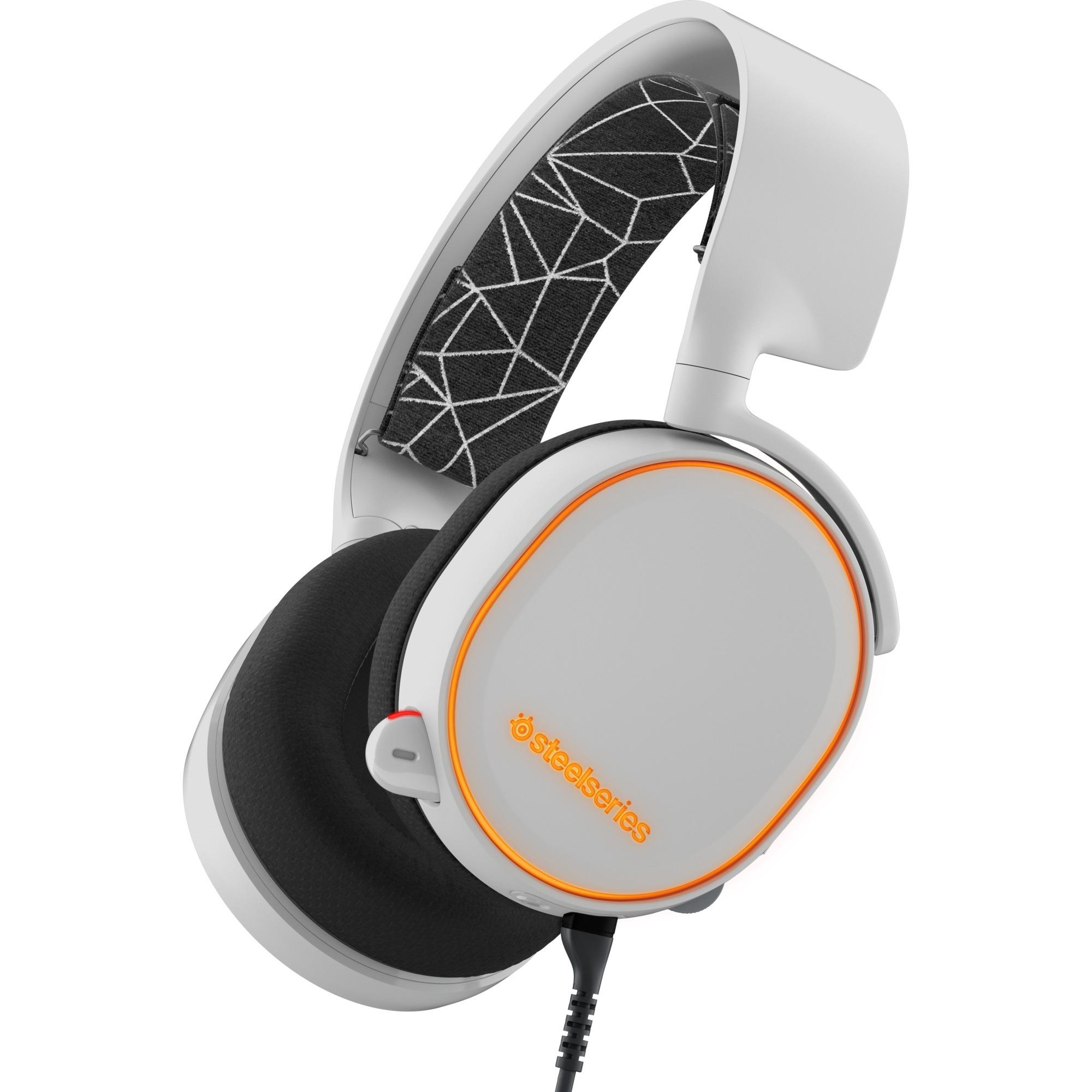 Arctis 5 Binaurale Diadema Negro, Blanco auricular con micrófono, Auriculares con micrófono
