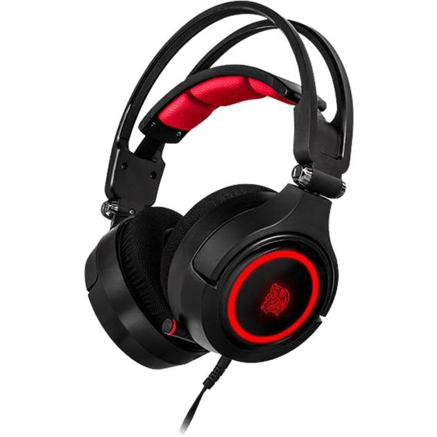 Cronos Riing RGB 7.1 Binaural Diadema Negro, Rojo, Auriculares con micrófono