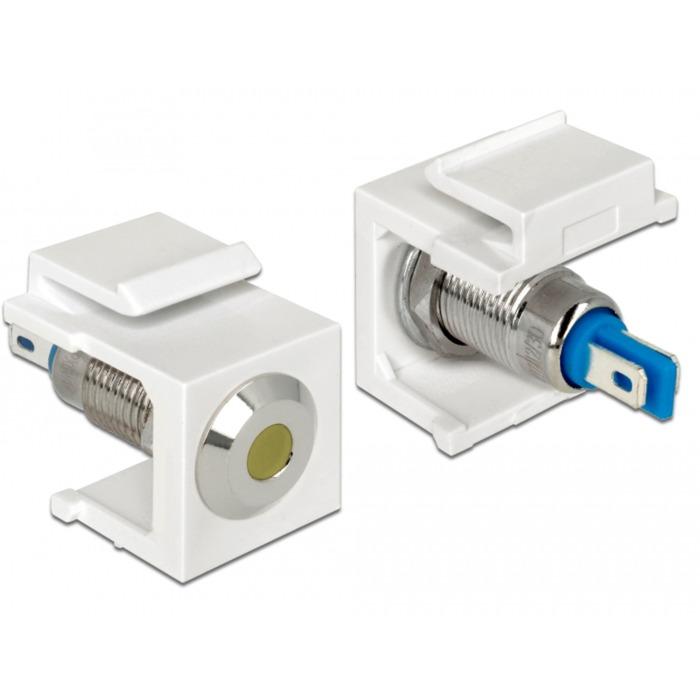 86436 Keystone LED Azul, Acero inoxidable, Blanco, Amarillo conector, Módulo Keystone
