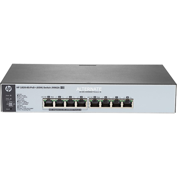 1820-8G-PoE+ (65W) Managed network switch L2 Gigabit Ethernet (10/100/1000) Energía sobre Ethernet (PoE) 1U Gris, Interruptor/Conmutador