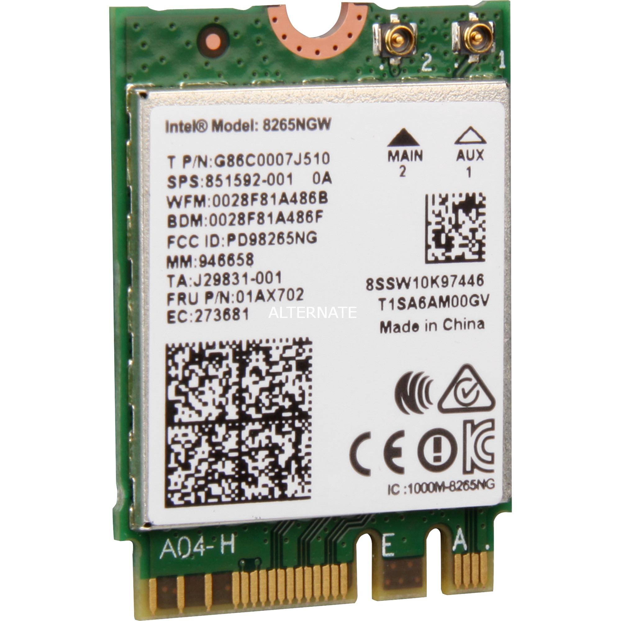 AC 8265 Interno WLAN/Bluetooth 867Mbit/s adaptador y tarjeta de red, Adaptador Wi-Fi