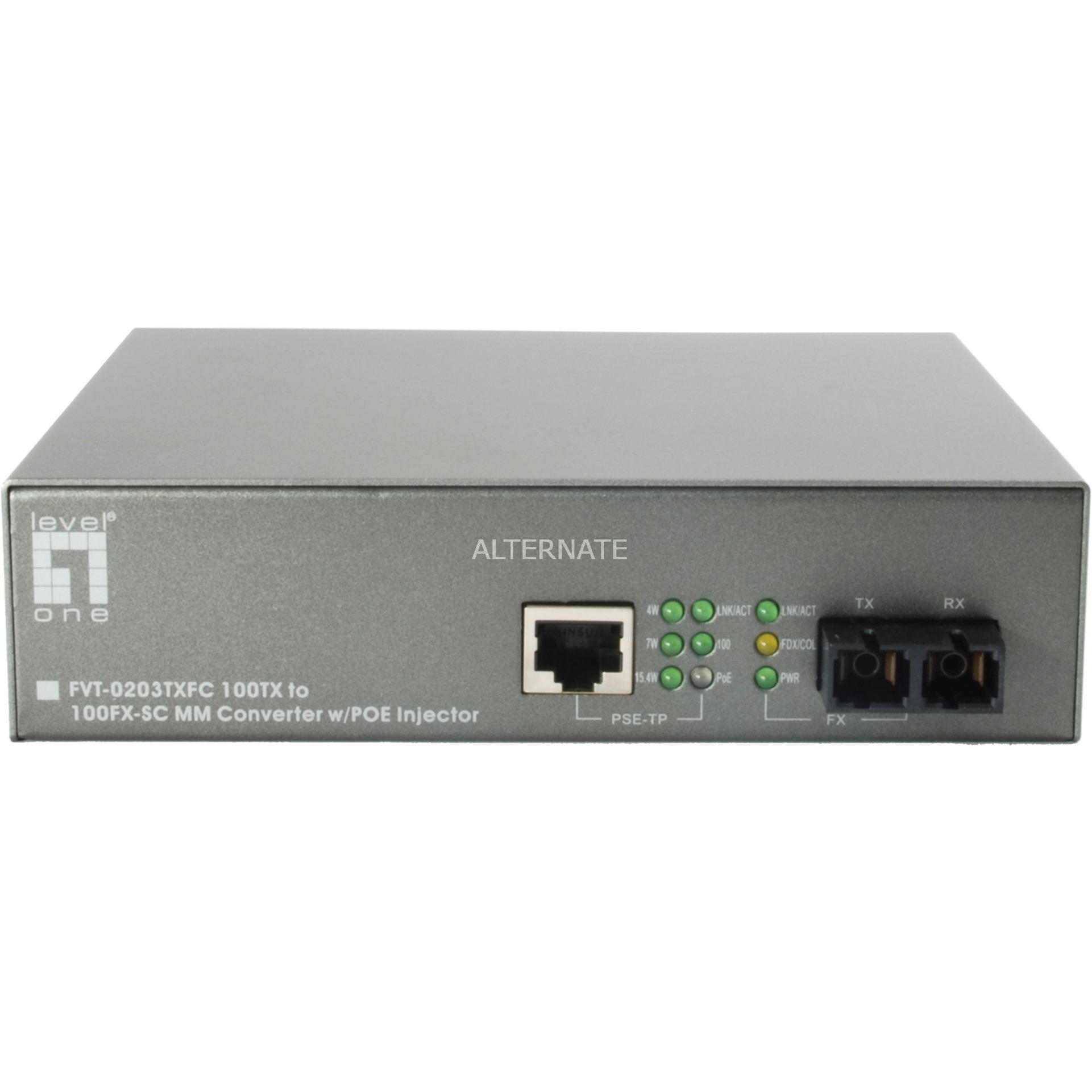 Convertidor SC MMF 100TX a 100FX-SC con Inyector PoE 15.4W