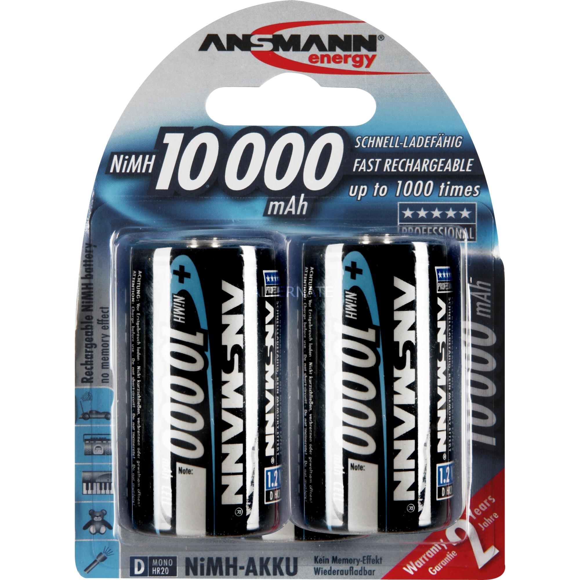 10000 mAh - Mono / D / HR20 Níquel-metal hidruro (NiMH) 10000mAh 1.2V batería recargable