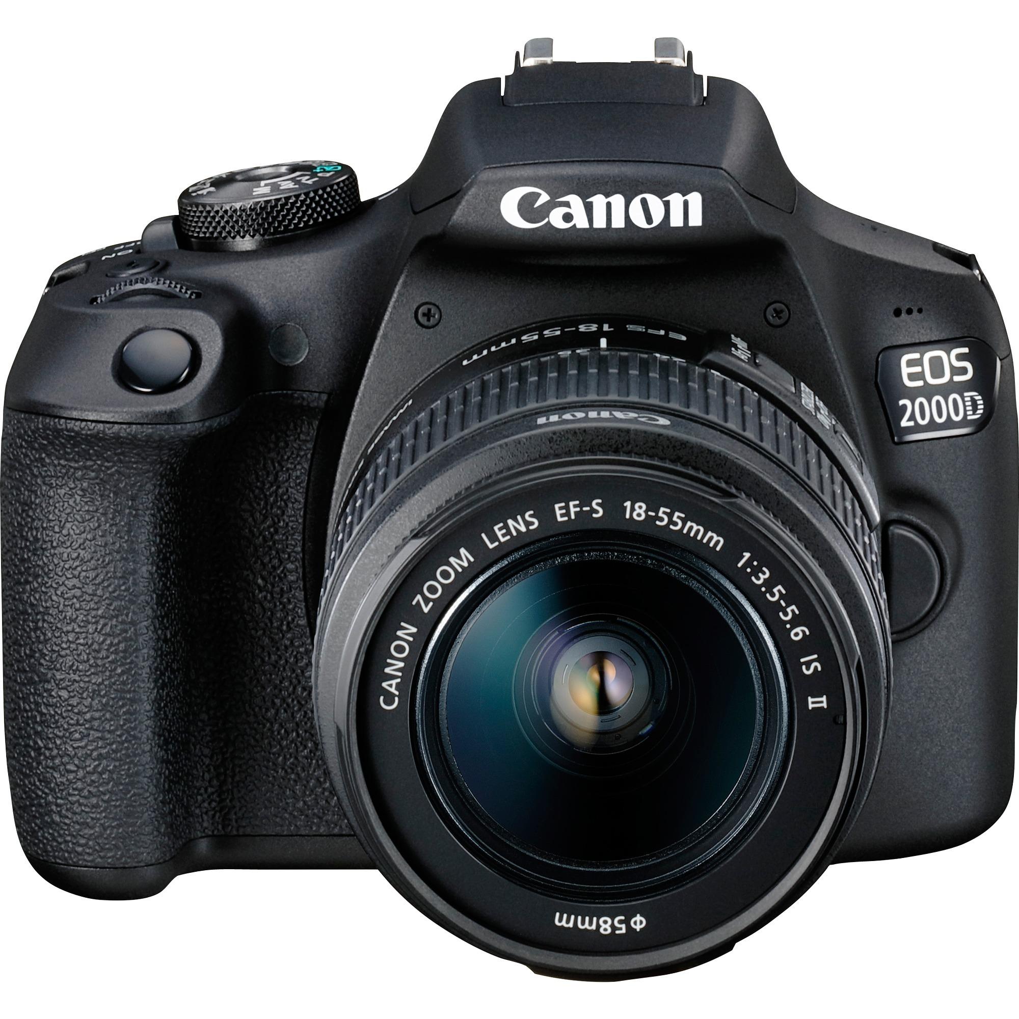 EOS 2000D BK 18-55 IS II EU26 Juego de cámara SLR 24,1 MP CMOS 6000 x 4000 Pixeles Negro, Cámara digital