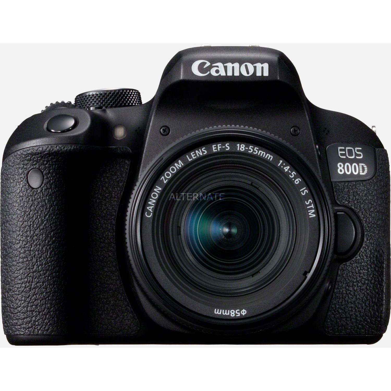 EOS 800D + EF-S 18-55mm 4.0-5.6 IS STM Juego de cámara SLR 24,2 MP CMOS 6000 x 4000 Pixeles Negro, Cámara digital
