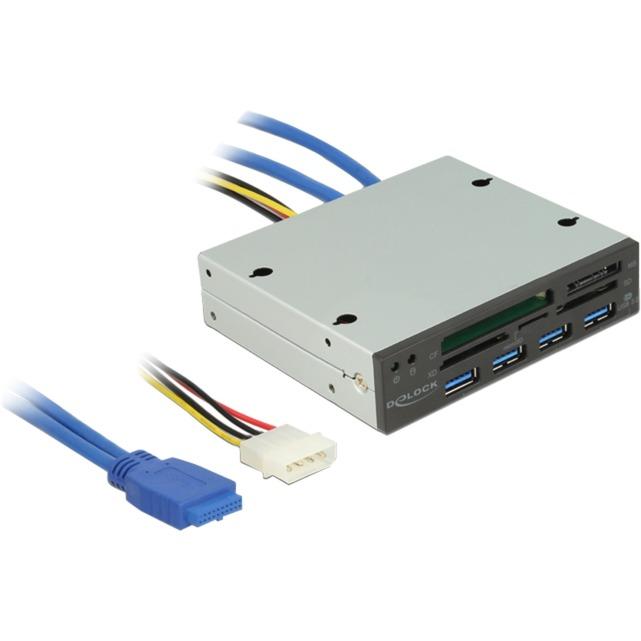 91493 lector de tarjeta Interno USB 3.0 Negro, Metálico, Lector de tarjetas