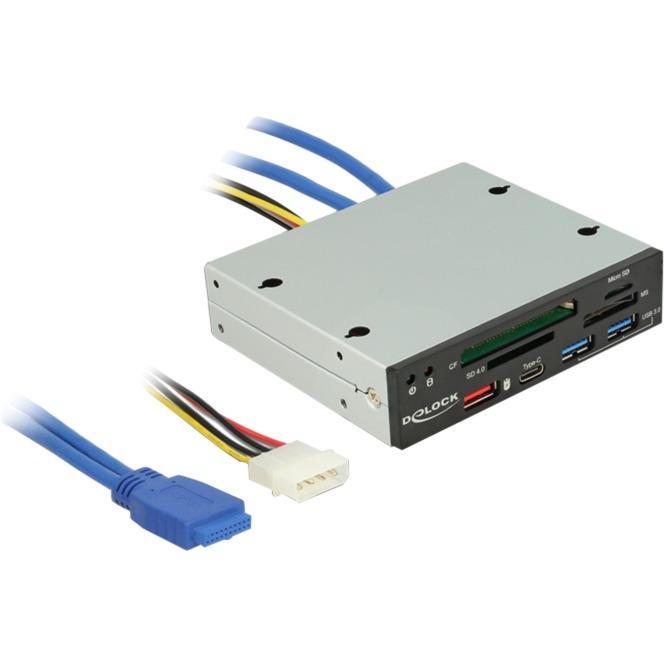 91657 lector de tarjeta Interno USB 3.0 Negro, Lector de tarjetas
