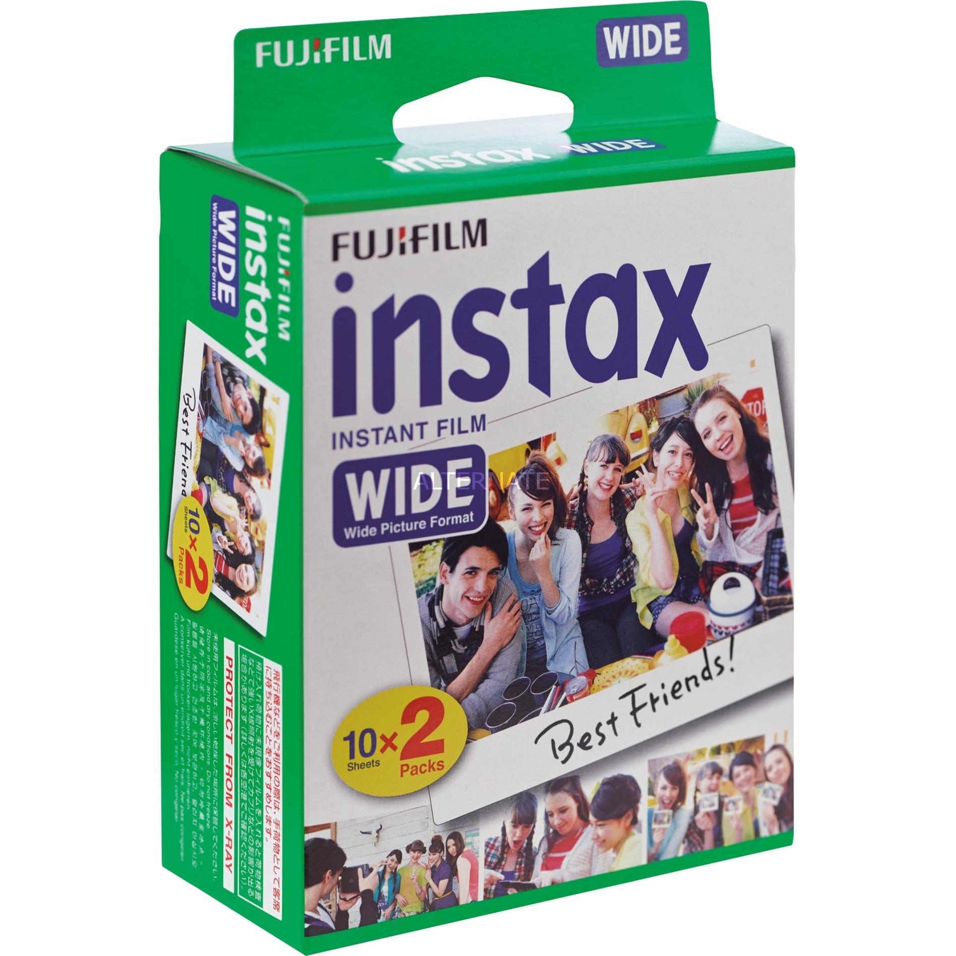 Instax Wide Film película instantáneas 108 x 86 mm 20 pieza(s), Papel fotográfico