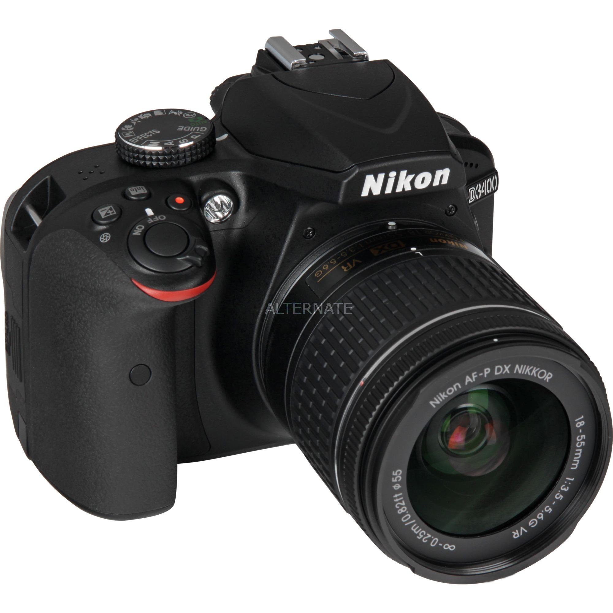 D3400 + AF-P DX 18-55 mm 1:3.5-5.6G VR Juego de cámara SLR 24.2MP CMOS 6000 x 4000Pixeles Negro, Cámara digital