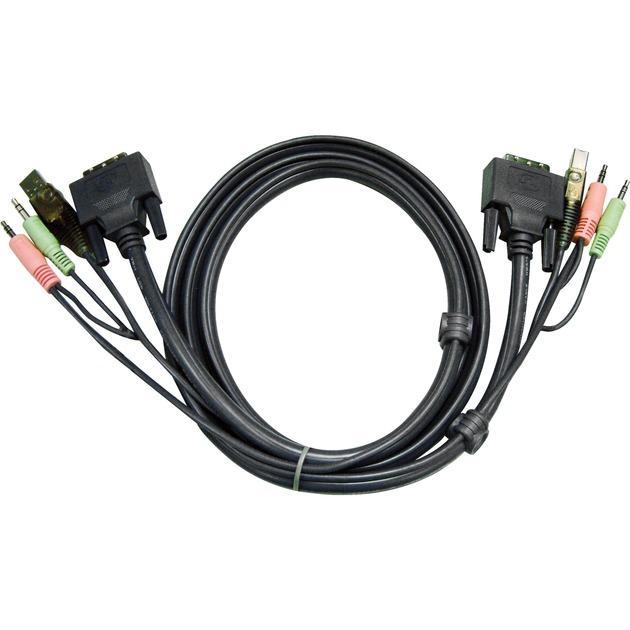 2L7D03UI cable para video, teclado y ratón (kvm) 3 m Negro