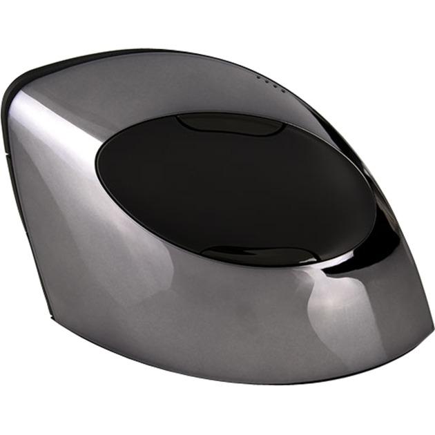 Vertical Mouse C Right Wireless Bluetooth+USB Óptico mano derecha Negro, Cromo ratón