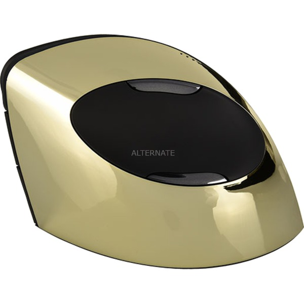 Vertical Mouse C Right Wireless Gold Bluetooth+USB Óptico mano derecha Negro, Oro ratón