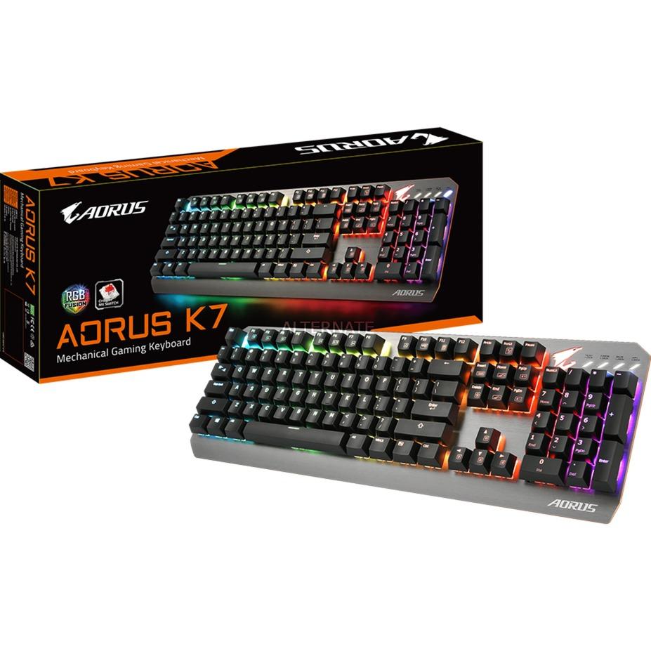 AORUS K7 teclado USB Inglés Negro