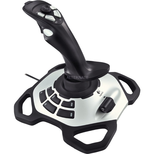 Extreme 3D Pro Palanca de mando PC Negro, Color blanco