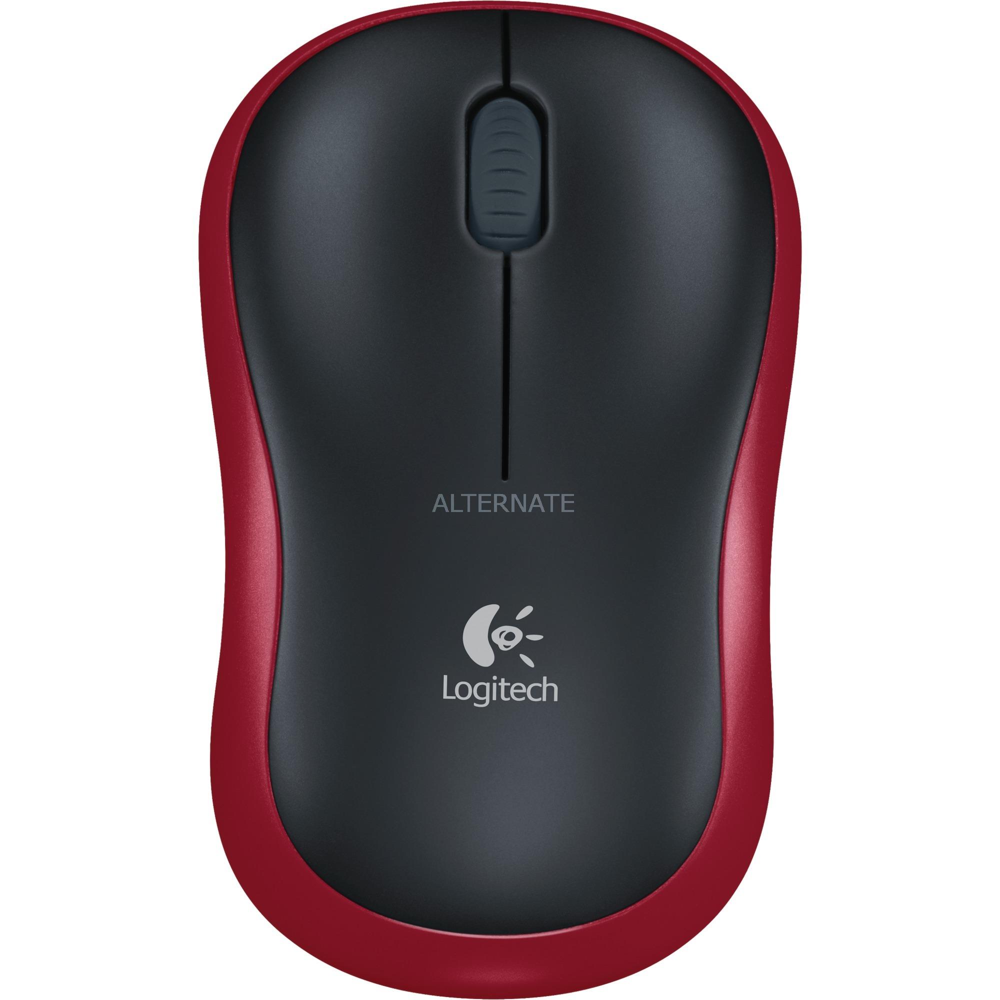 M185 RF inalámbrico Óptico 1000DPI Ambidextro Negro, Rojo ratón