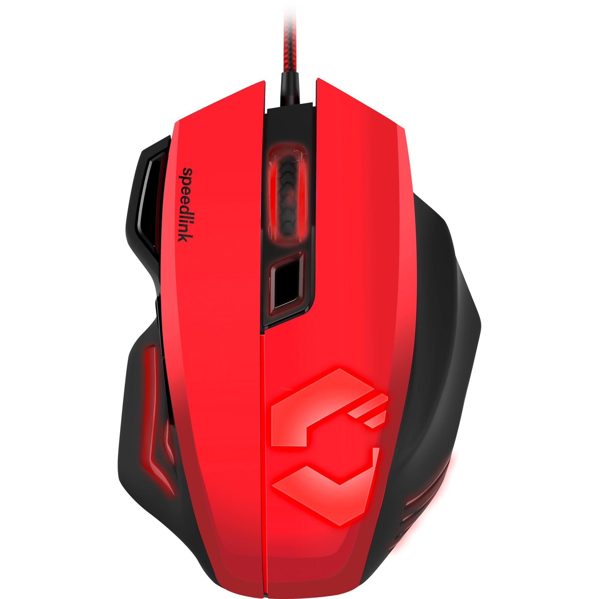 Decus Respec ratón USB Óptico 5000 DPI mano derecha Negro, Rojo